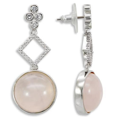 1W121 - Rhodium Brass Earrings with Precious Stone PINK CRYSTAL in Rose