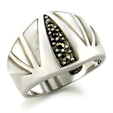 20103 - Antique Tone 925 Sterling Silver Ring with Precious Stone Conch in White