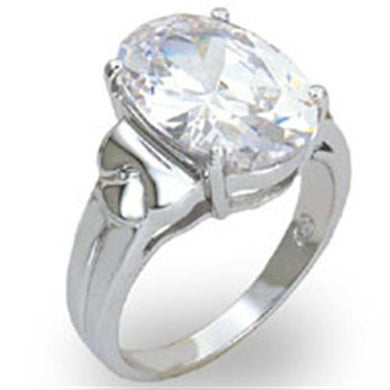 20424 - High-Polished 925 Sterling Silver Ring with AAA Grade CZ  in Clear