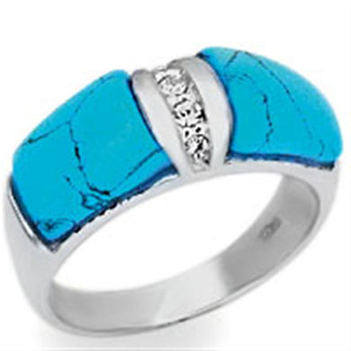 20611 - High-Polished 925 Sterling Silver Ring with Synthetic Turquoise in Sea Blue