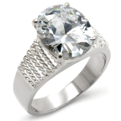 21118 - High-Polished 925 Sterling Silver Ring with AAA Grade CZ  in Clear