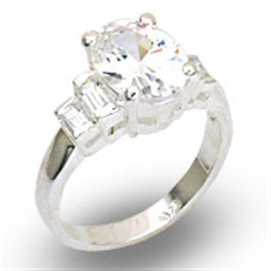 21121 - High-Polished 925 Sterling Silver Ring with AAA Grade CZ  in Clear