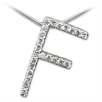 21606 - Rhodium Brass Pendant with AAA Grade CZ  in Clear