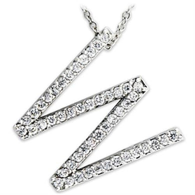 21621 - Rhodium Brass Pendant with AAA Grade CZ  in Clear