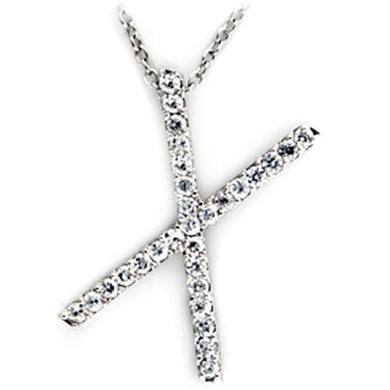 21622 - Rhodium Brass Pendant with AAA Grade CZ  in Clear