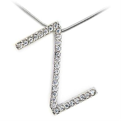 21624 - Rhodium Brass Pendant with AAA Grade CZ  in Clear