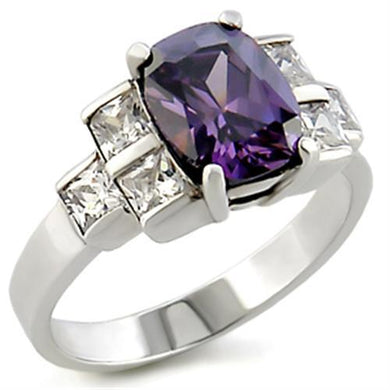 22521 - High-Polished 925 Sterling Silver Ring with AAA Grade CZ  in Amethyst