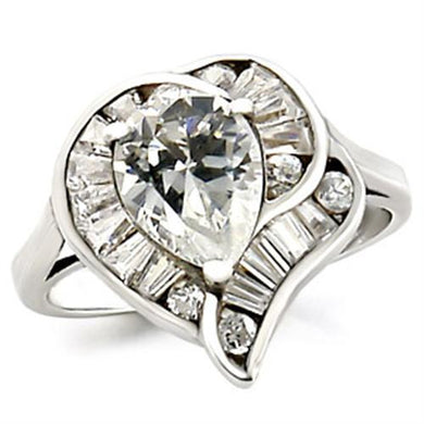 23529 - High-Polished 925 Sterling Silver Ring with AAA Grade CZ  in Clear