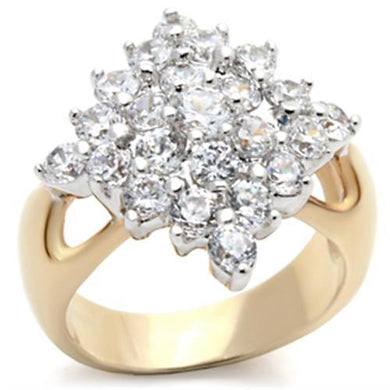2W024 - Gold+Rhodium Brass Ring with AAA Grade CZ  in Clear