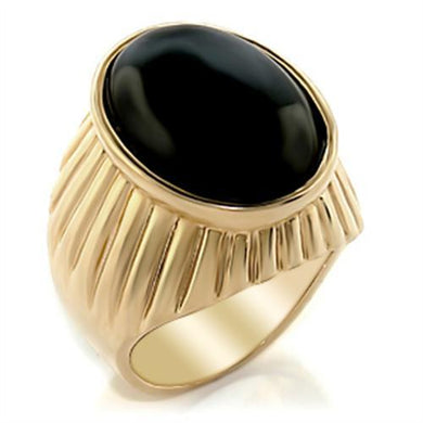 2W060 - Gold Brass Ring with Semi-Precious Onyx in Jet