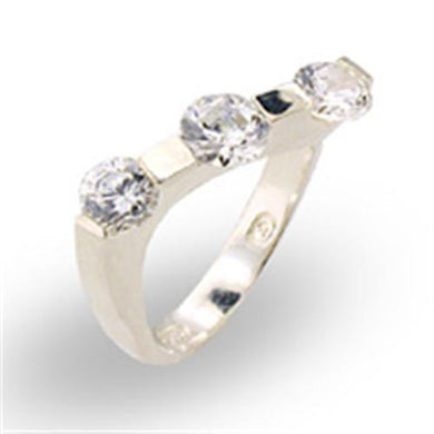 30123 - High-Polished 925 Sterling Silver Ring with AAA Grade CZ  in Clear