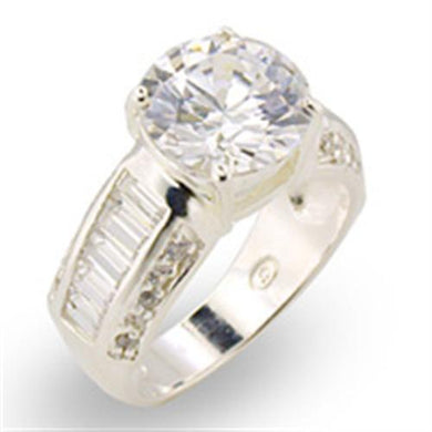 30307 - High-Polished 925 Sterling Silver Ring with AAA Grade CZ  in Clear