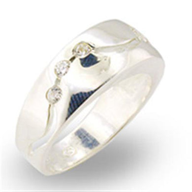 30336 - High-Polished 925 Sterling Silver Ring with AAA Grade CZ  in Clear