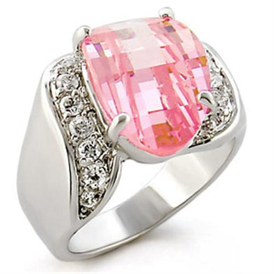 30813 - High-Polished 925 Sterling Silver Ring with AAA Grade CZ  in Rose