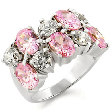 30817 - High-Polished 925 Sterling Silver Ring with AAA Grade CZ  in Rose