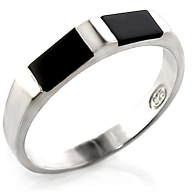 30919 - High-Polished 925 Sterling Silver Ring with Semi-Precious Onyx in Jet