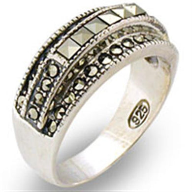 31011 - Antique Tone 925 Sterling Silver Ring with Semi-Precious Marcasite in Jet