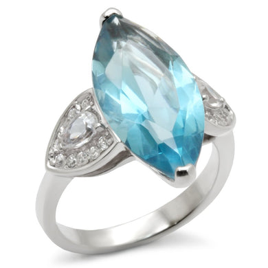 31212 - High-Polished 925 Sterling Silver Ring with Synthetic Spinel in Sea Blue