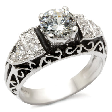 31427 - High-Polished 925 Sterling Silver Ring with AAA Grade CZ  in Clear