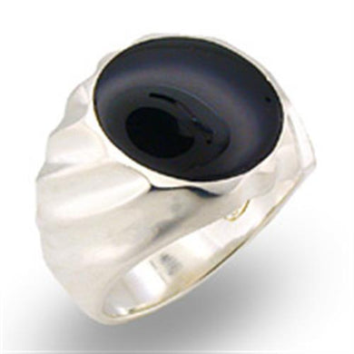 31501 - High-Polished 925 Sterling Silver Ring with Semi-Precious Onyx in Jet