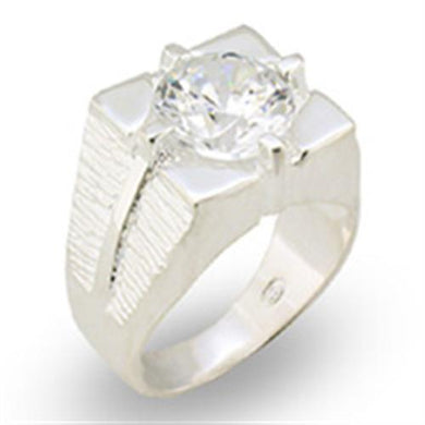31533 - High-Polished 925 Sterling Silver Ring with AAA Grade CZ  in Clear