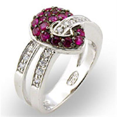 31715 - Rhodium + Ruthenium 925 Sterling Silver Ring with Synthetic Garnet in Ruby