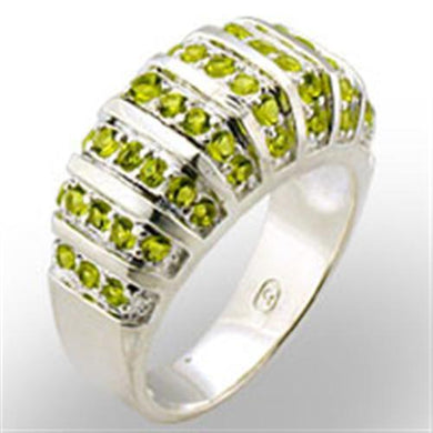 31814 - High-Polished 925 Sterling Silver Ring with Synthetic Spinel in Peridot