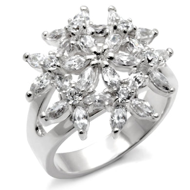 31820 - High-Polished 925 Sterling Silver Ring with AAA Grade CZ  in Clear