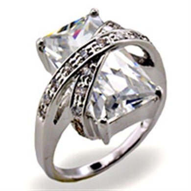 32103 - High-Polished 925 Sterling Silver Ring with AAA Grade CZ  in Clear