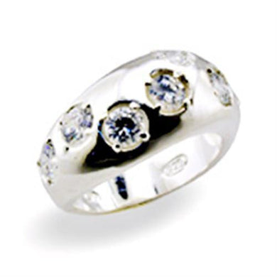 32114 - High-Polished 925 Sterling Silver Ring with AAA Grade CZ  in Clear
