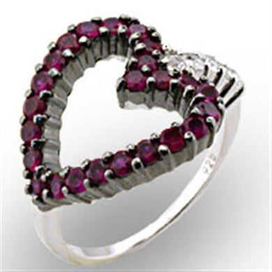 32511 - Rhodium + Ruthenium 925 Sterling Silver Ring with Synthetic Garnet in Ruby