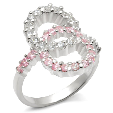 32516 - High-Polished 925 Sterling Silver Ring with AAA Grade CZ  in Rose