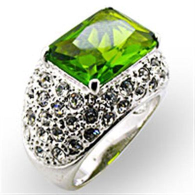 32707 - Rhodium Brass Ring with Synthetic Spinel in Peridot