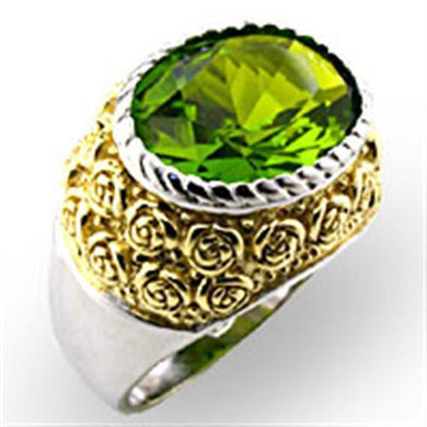 32804 - Reverse Two-Tone 925 Sterling Silver Ring with Synthetic Spinel in Peridot