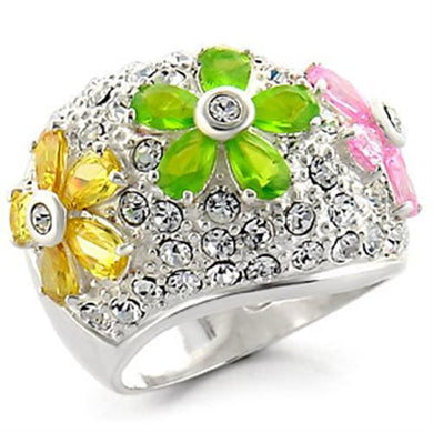 34015 - High-Polished 925 Sterling Silver Ring with AAA Grade CZ  in Multi Color