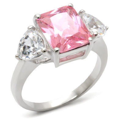 34101 - High-Polished 925 Sterling Silver Ring with AAA Grade CZ  in Rose
