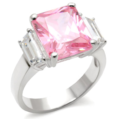 34102 - High-Polished 925 Sterling Silver Ring with AAA Grade CZ  in Rose