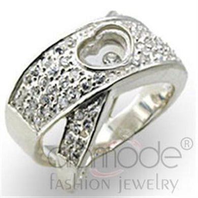 34114 - High-Polished 925 Sterling Silver Ring with Top Grade Crystal  in Clear