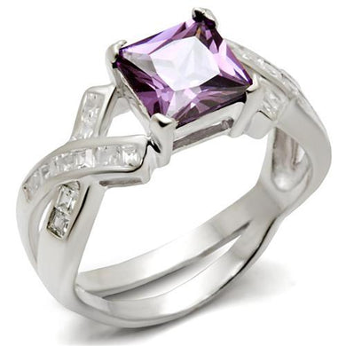 34403 - High-Polished 925 Sterling Silver Ring with AAA Grade CZ  in Amethyst