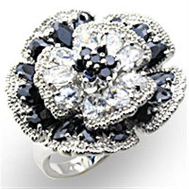 34432 - High-Polished 925 Sterling Silver Ring with AAA Grade CZ  in Jet