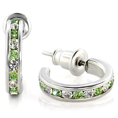 LOAS1345 High-Polished 925 Sterling Silver Earrings with Top Grade Crystal in Peridot