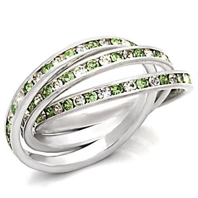 35108 - High-Polished 925 Sterling Silver Ring with Top Grade Crystal  in Peridot