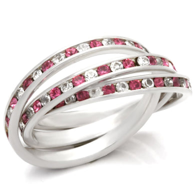 35110 - High-Polished 925 Sterling Silver Ring with Top Grade Crystal  in Rose