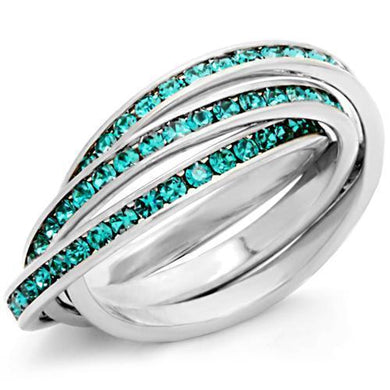 35117 - High-Polished 925 Sterling Silver Ring with Top Grade Crystal  in Emerald