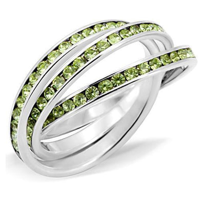 35120 - High-Polished 925 Sterling Silver Ring with Top Grade Crystal  in Peridot