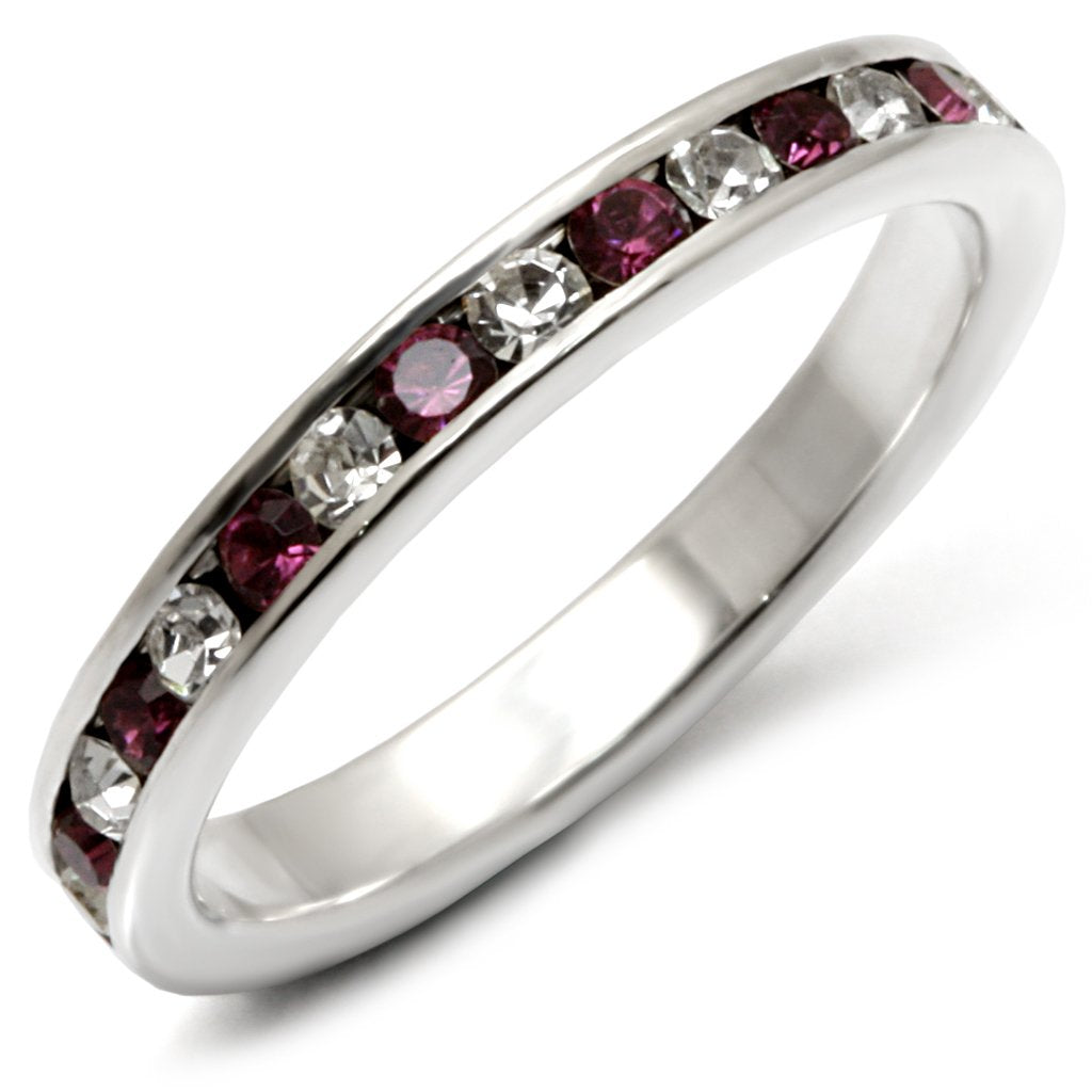 35126 - High-Polished 925 Sterling Silver Ring with Top Grade Crystal  in Amethyst