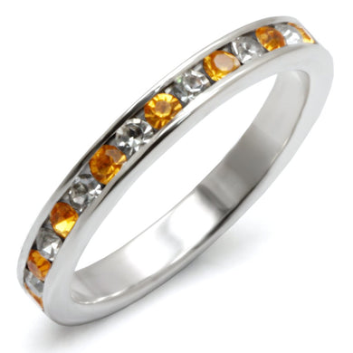 35135 High-Polished 925 Sterling Silver Ring with Top Grade Crystal in Topaz
