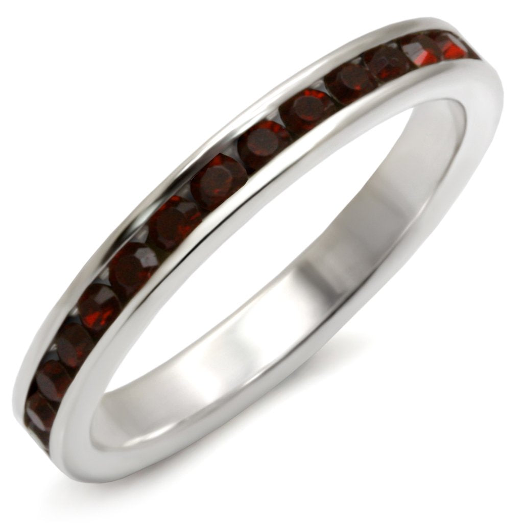 35137 - High-Polished 925 Sterling Silver Ring with Top Grade Crystal  in Garnet