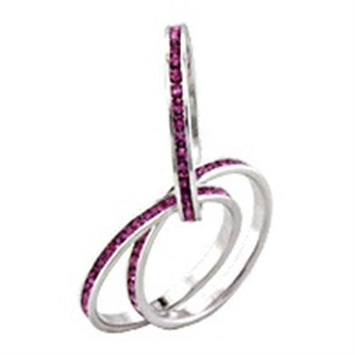 35422 - Rhodium Brass Ring with Top Grade Crystal  in Rose