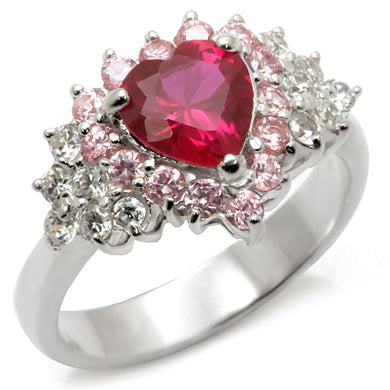 35701 - High-Polished 925 Sterling Silver Ring with Synthetic Garnet in Ruby